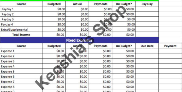 Sinking Fund Excel Spreadsheet With Regard To Super 10 Line Budgeting Spread Sheet Google Sheets Digital  Etsy