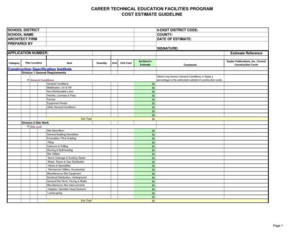 Site Work Estimating Spreadsheet In Builders Estimate Template Construction Excel Spreadsheet Free Cost
