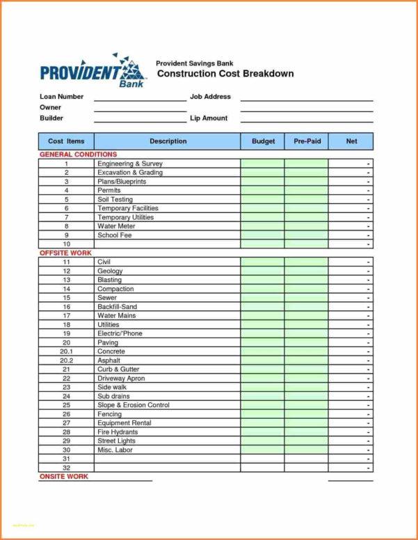 Site Work Estimating Spreadsheet Throughout House Cost Estimator Spreadsheet  Awal Mula