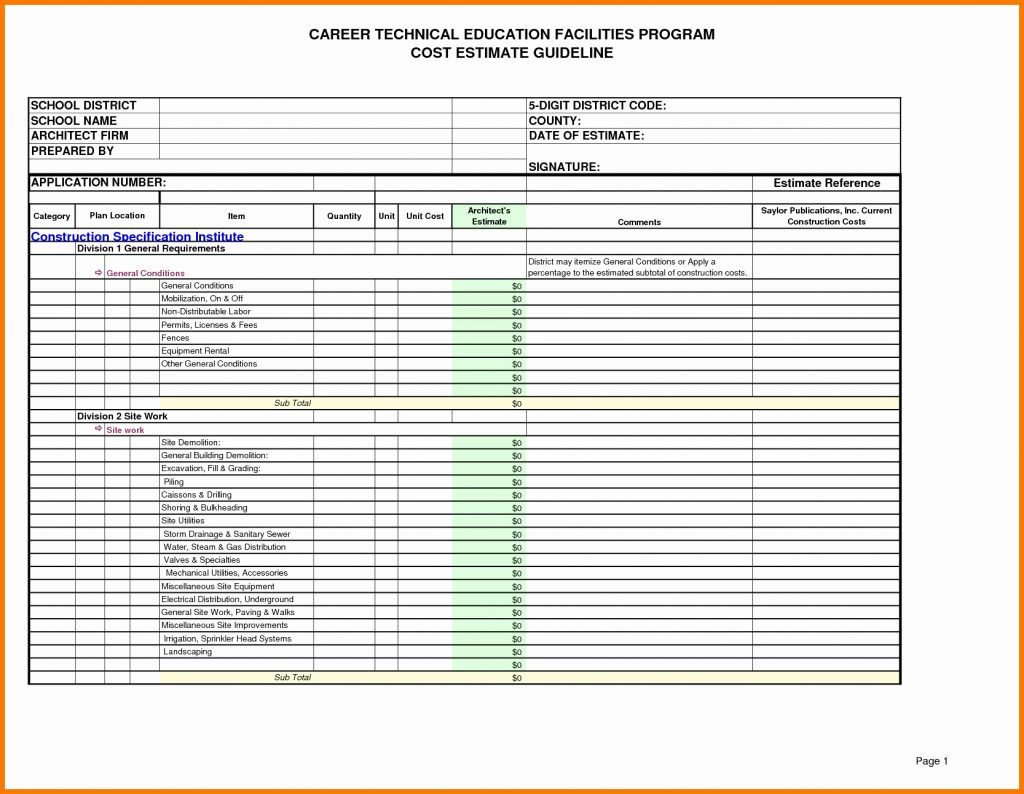 Site Work Estimating Spreadsheet With Regard To Free Structural Steelstimating Spreadsheets Spreadsheetxcel