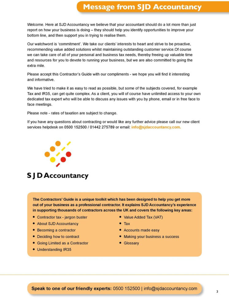 Sjd Accountancy Spreadsheet Regarding Contractor S Guide. To Running Your Own Limited Company.  Pdf