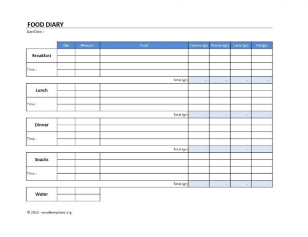 Slimming World Food Diary Spreadsheet Intended For 017 Food Diary Template Excel Ideas Weekly Printable 367301