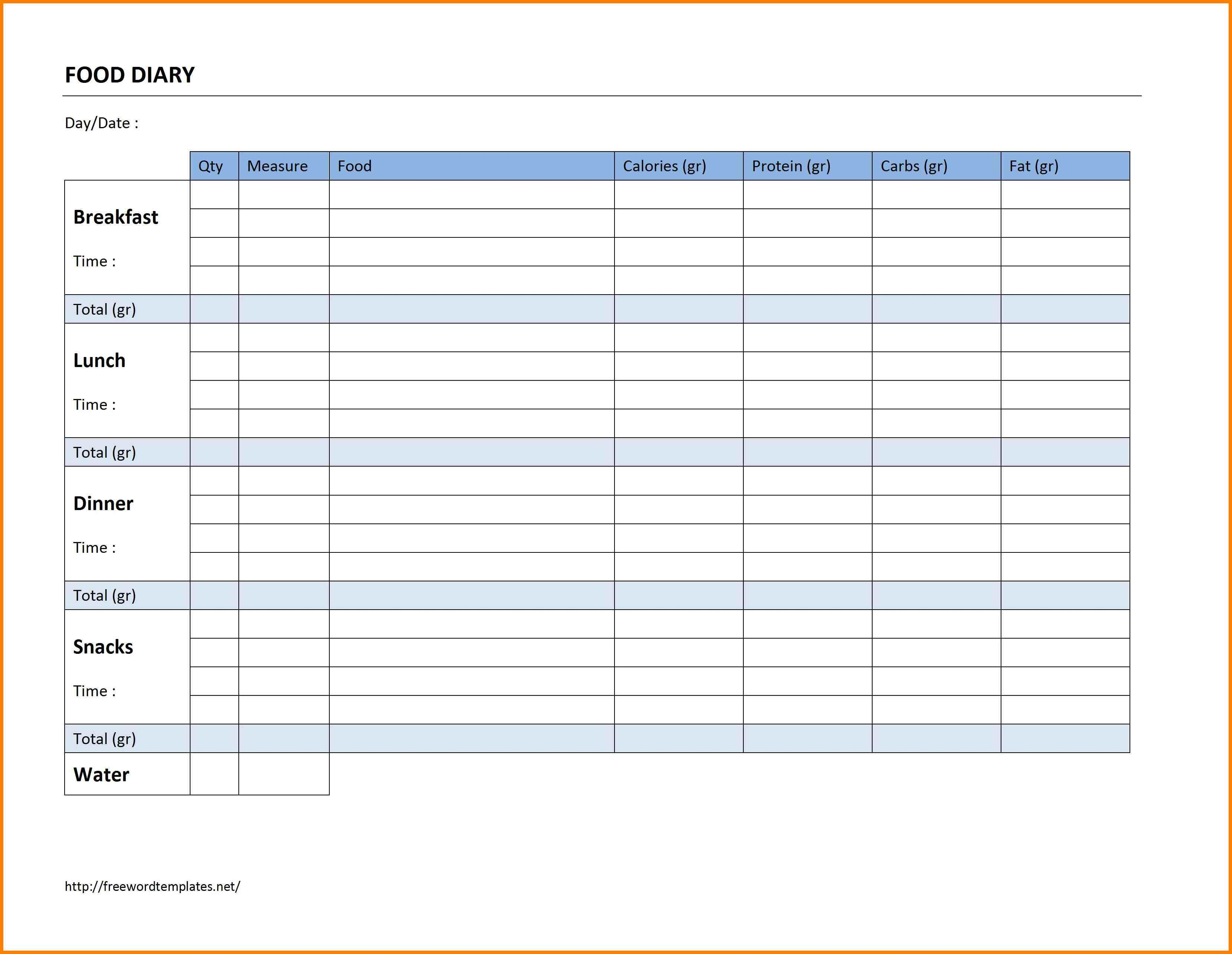 Slimming World Food Diary Spreadsheet Throughout Food Diary Template  Hashtag Bg