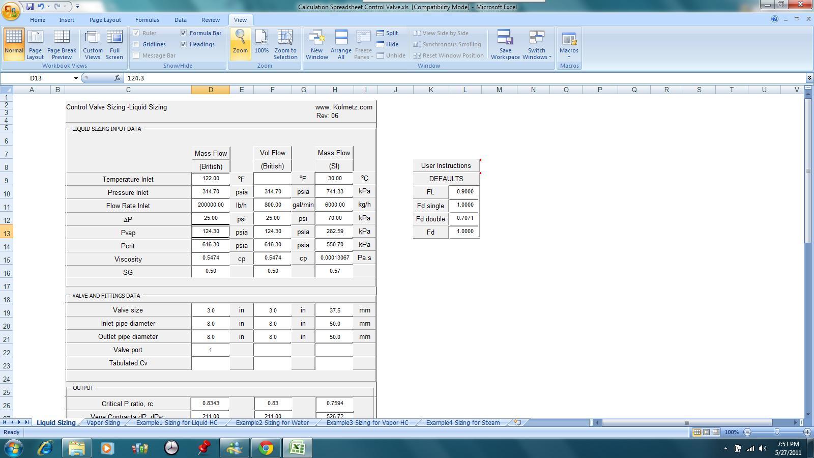 Slug Catcher Sizing Spreadsheet In Kolmetz  Guidelines