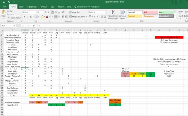 Smart Spreadsheet Regarding Smart Spreadsheet For Buildingmaterial : H1Z1