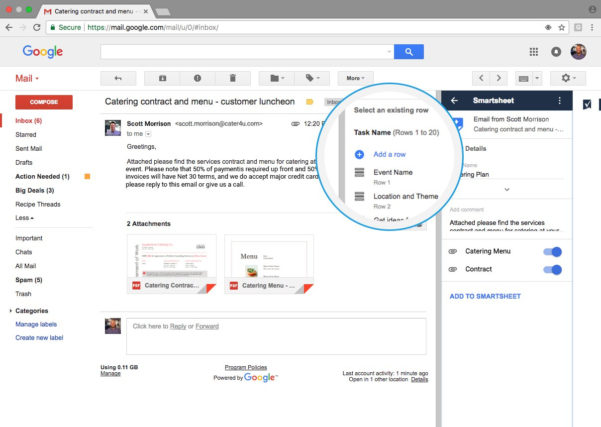 Smartsheet Spreadsheet Iphone With Regard To Gmail  Smartsheet