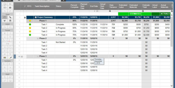 Smartsheet Spreadsheet With Regard To Champion's Guide To Earned Value Smartsheet