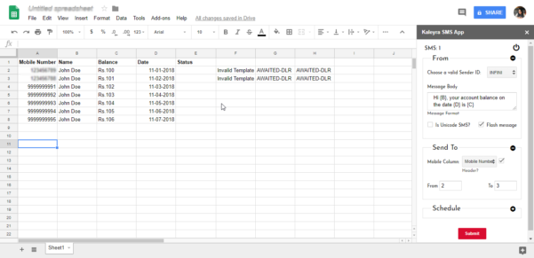 Sms To Spreadsheet With Regard To Send Sms Using Spreadsheet