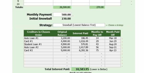 Snowball Method Spreadsheet Pertaining To 38 Debt Snowball Spreadsheets, Forms  Calculators ❄❄❄ Snowball Method Spreadsheet Spreadsheet Download