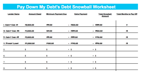 Snowball Method Spreadsheet With Pay Down My Debt's Debt Snowball Worksheet
