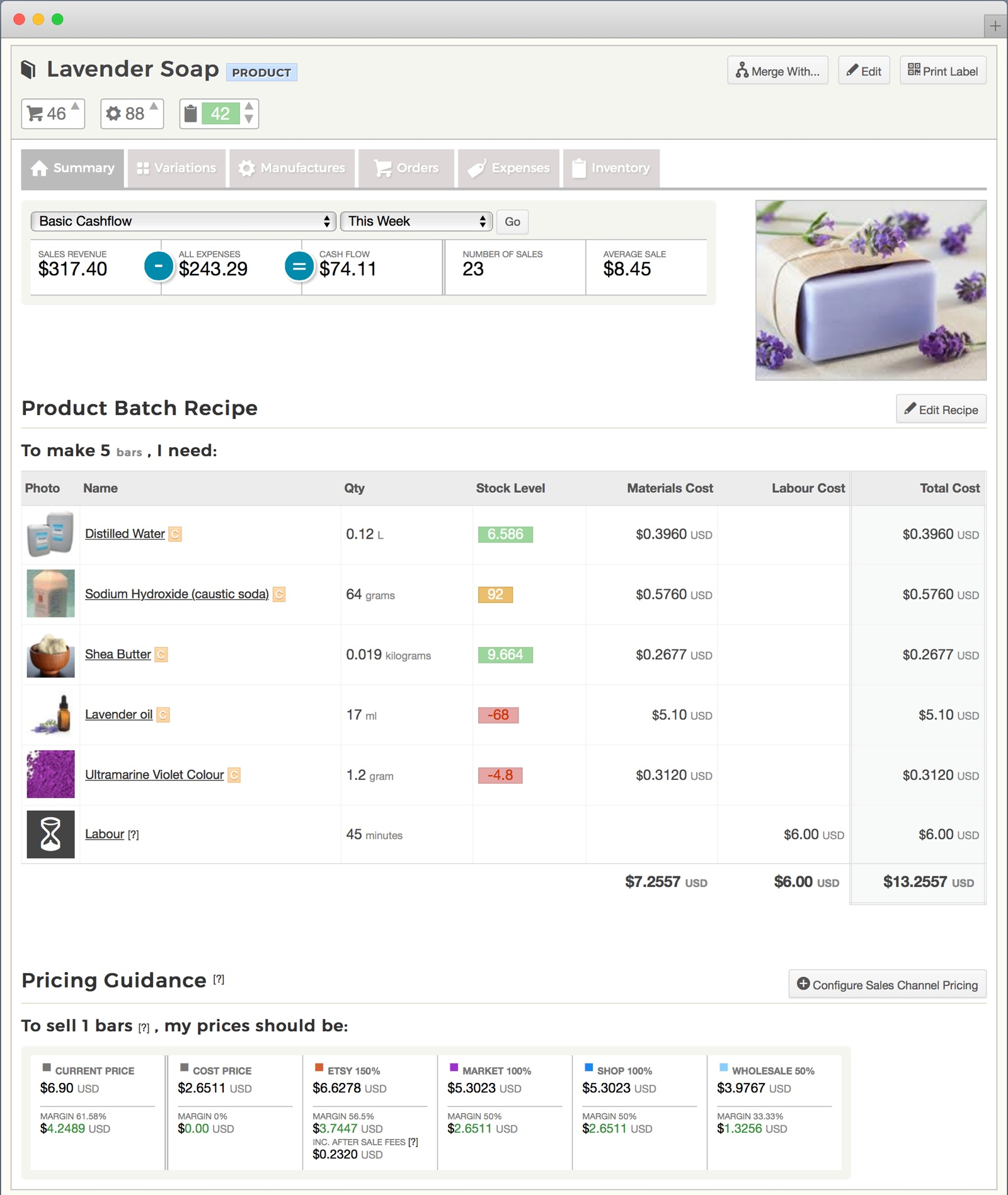 Soap Inventory Spreadsheet Inside Soap Business Inventory  Bookkeeping Software  Craftybase