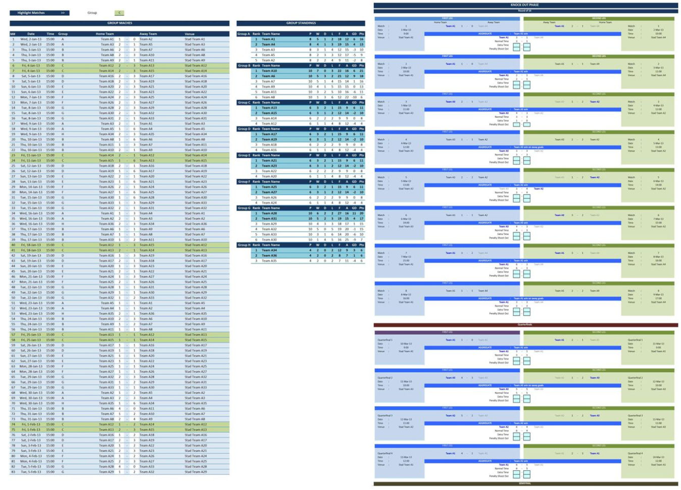 Soccer Excel Spreadsheet For Soccer Tournament Creator  Excel Templates