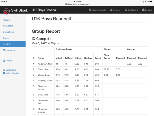 Soccer Tryout Evaluation Spreadsheet Throughout Baseball Tryout Evaluations  Skillshark
