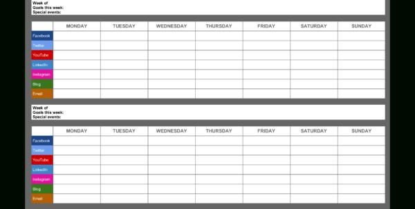 Social Media Calendar Spreadsheet Intended For Free Monthly Social Media Calendar  Templates At