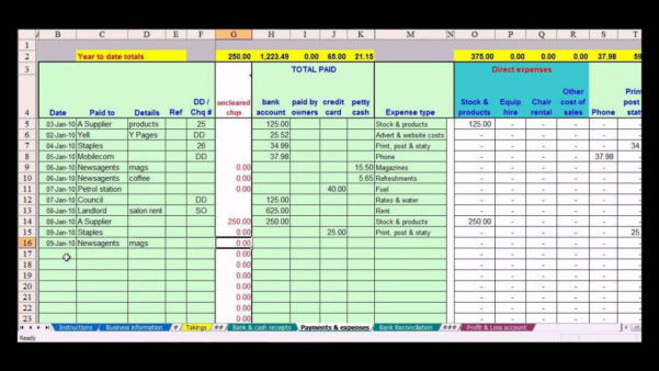 Sole Trader Spreadsheet Template Intended For Bookkeeping Template For Sole Trader Bookkeeping Spreadshee