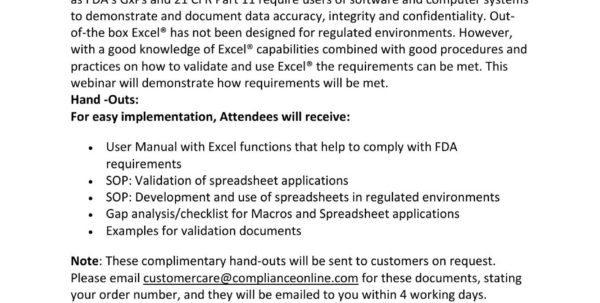 Sop Spreadsheet Regarding Validation And Use Of Excel® Spreadsheets In Fda Regulated