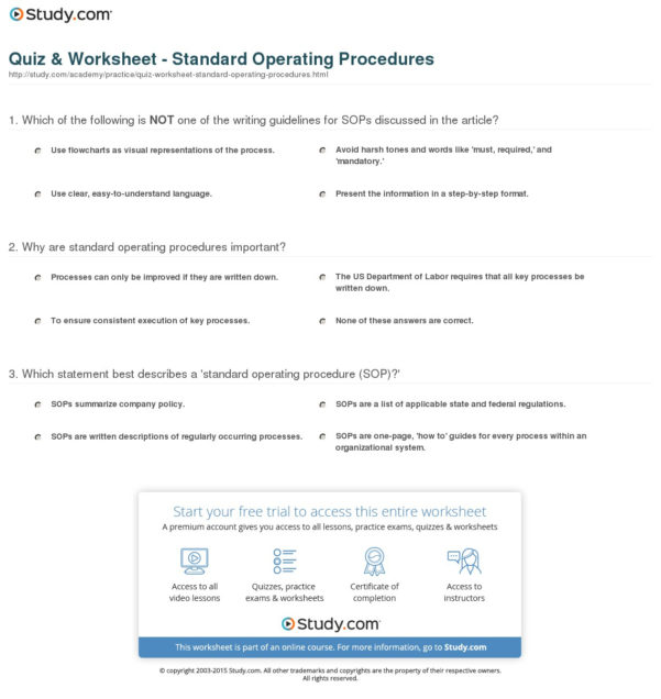Sop Spreadsheet With Regard To Quiz  Worksheet  Standard Operating Procedures  Study