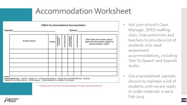 Special Education Accommodations Spreadsheet Throughout Cmas Parcc Accommodations  Ppt Download