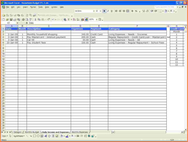 Spending Spreadsheet In Monthly Spendingadsheet Householdbudget003 Household Expenses