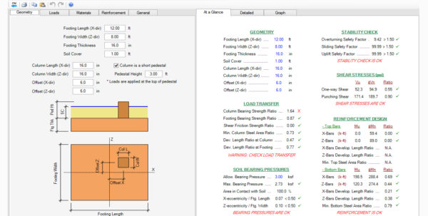 Spread Footing Design Spreadsheet Intended For Spread, Combined, Strap Footing Design Software  Asdip Foundation