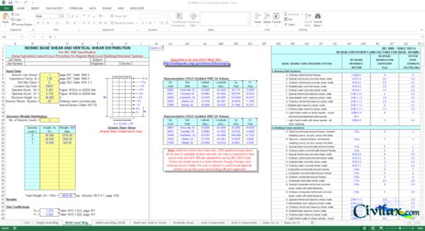 Spreadsheet Analysis In Ibc 2000 Seismic Analysis Spreadsheet