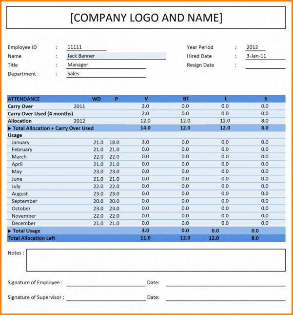 Spreadsheet Attendance Template In Employee Attendance Tracking Spreadsheet 5 Credit Excel Template