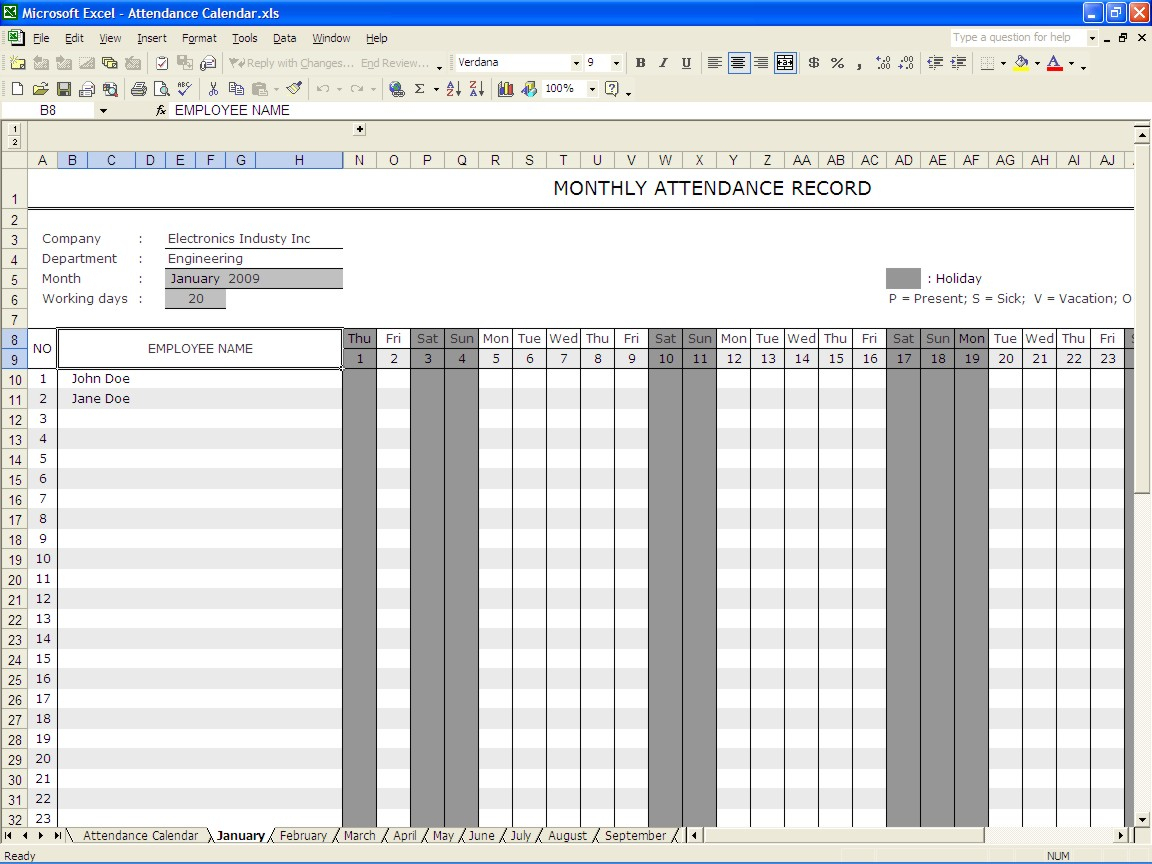 Spreadsheet Attendance Template With Attendance Calendar Excel  Rent.interpretomics.co