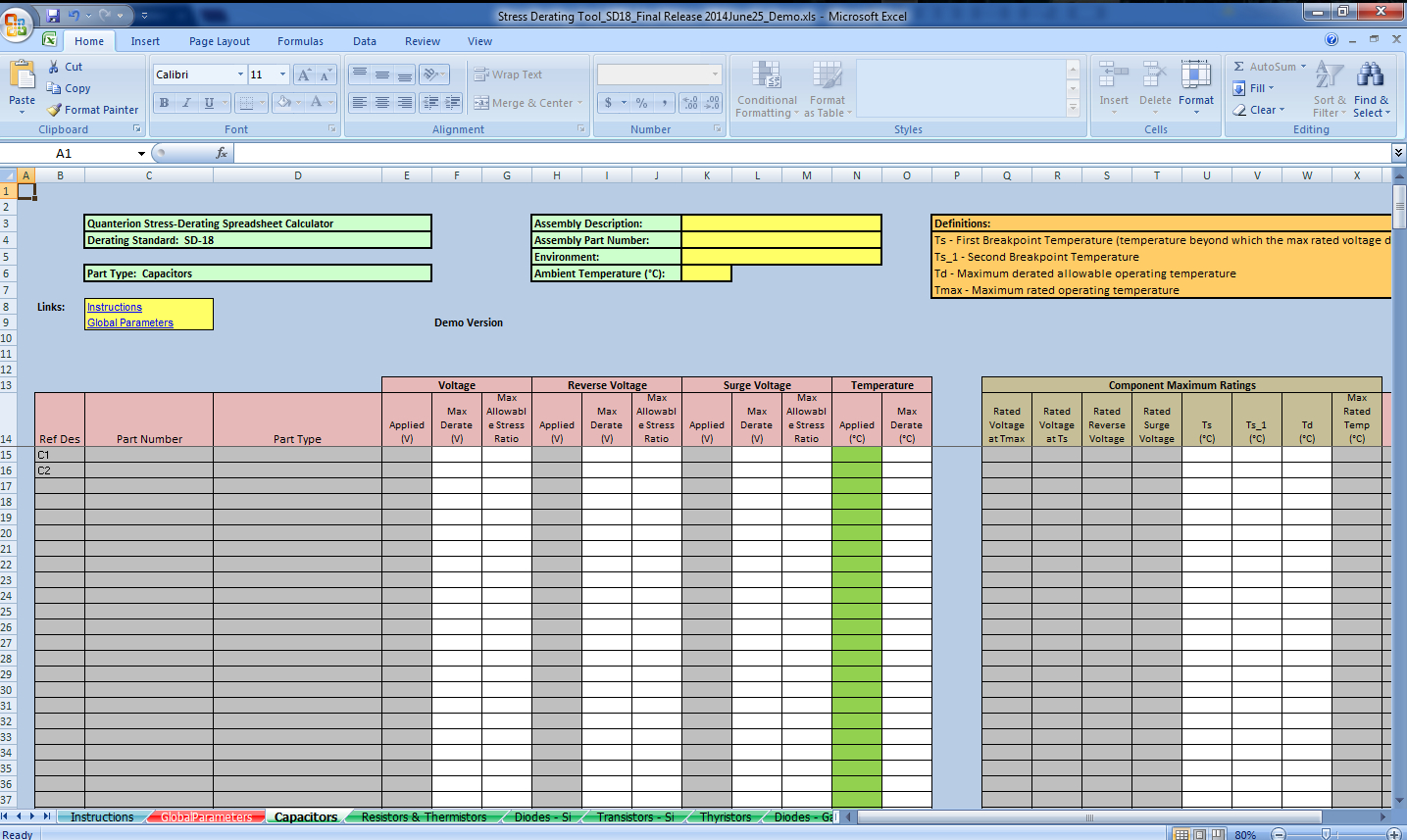Spreadsheet Calculator In Stressderating Spreadsheet Calculator – Quanterion Solutions