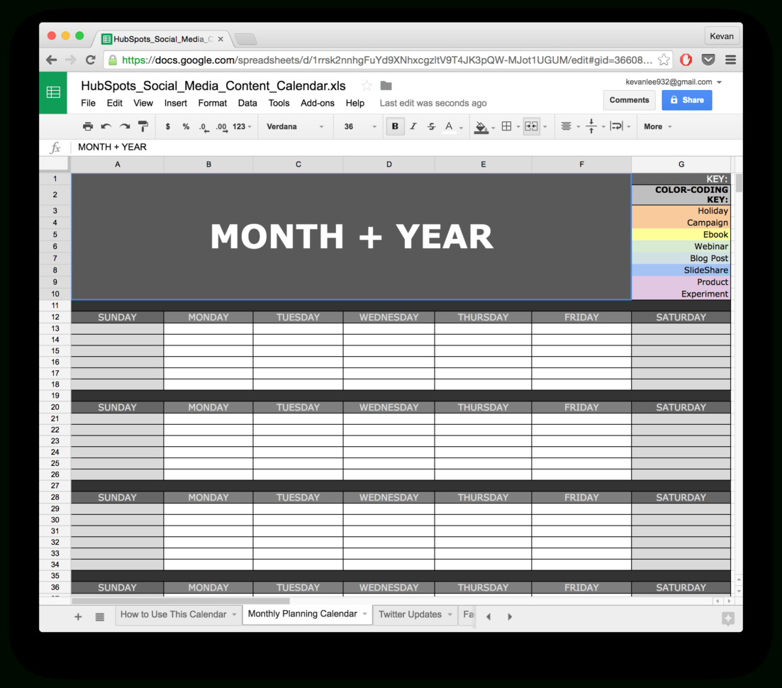 Spreadsheet Calendar Template Intended For 10 Readytogo Marketing Spreadsheets To Boost Your Productivity Today