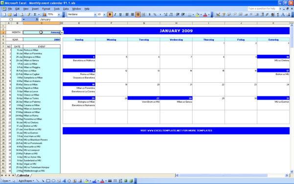 Spreadsheet Calendar Template Pertaining To Monthly Event Calendar  Excel Templates