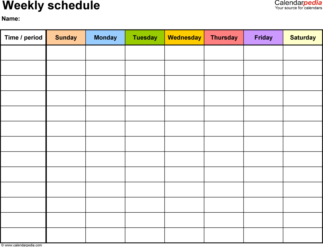 Spreadsheet Calendar Template With Free Weekly Schedule Templates For Excel  18 Templates