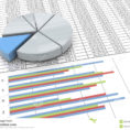 Spreadsheet Chart Inside 3D Pie Chart On Spreadsheet Background Stock Illustration