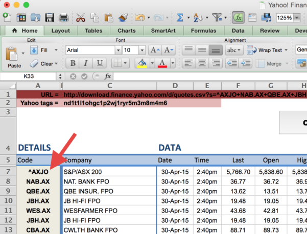 Spreadsheet Codes In How To Import Share Price Data Into Excel  Market Index
