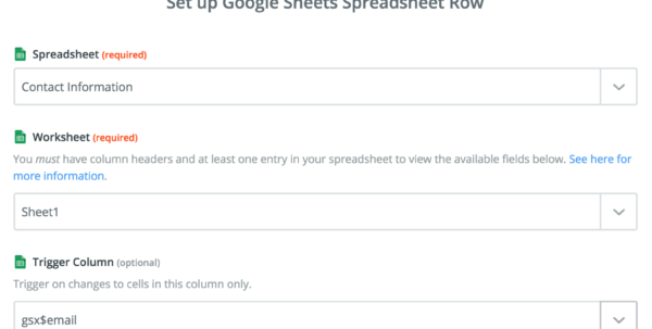 Spreadsheet Column With Google Sheets  Integration Help  Support  Zapier