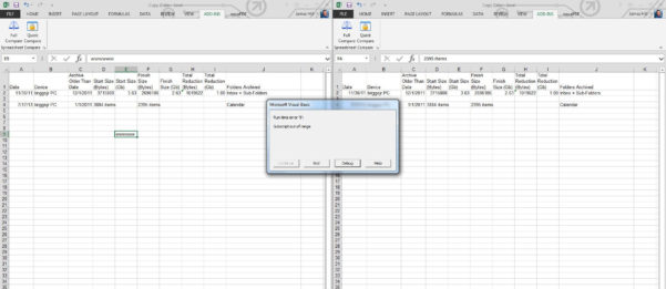 Spreadsheet Compare Download Within Spreadsheet Compare / Bugs / #66 Runtime Error '9': Subscript Out