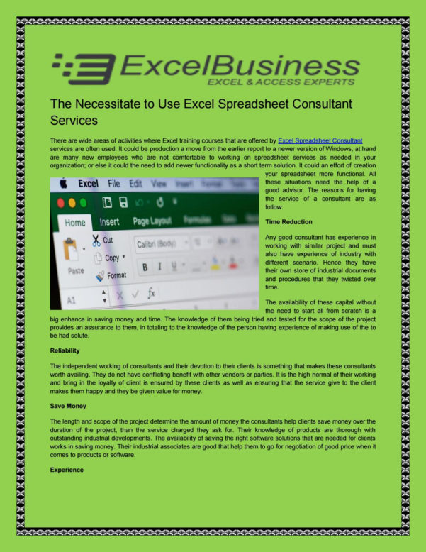 Spreadsheet Consultant Throughout The Necessitate To Use Excel Spreadsheet Consultant Services