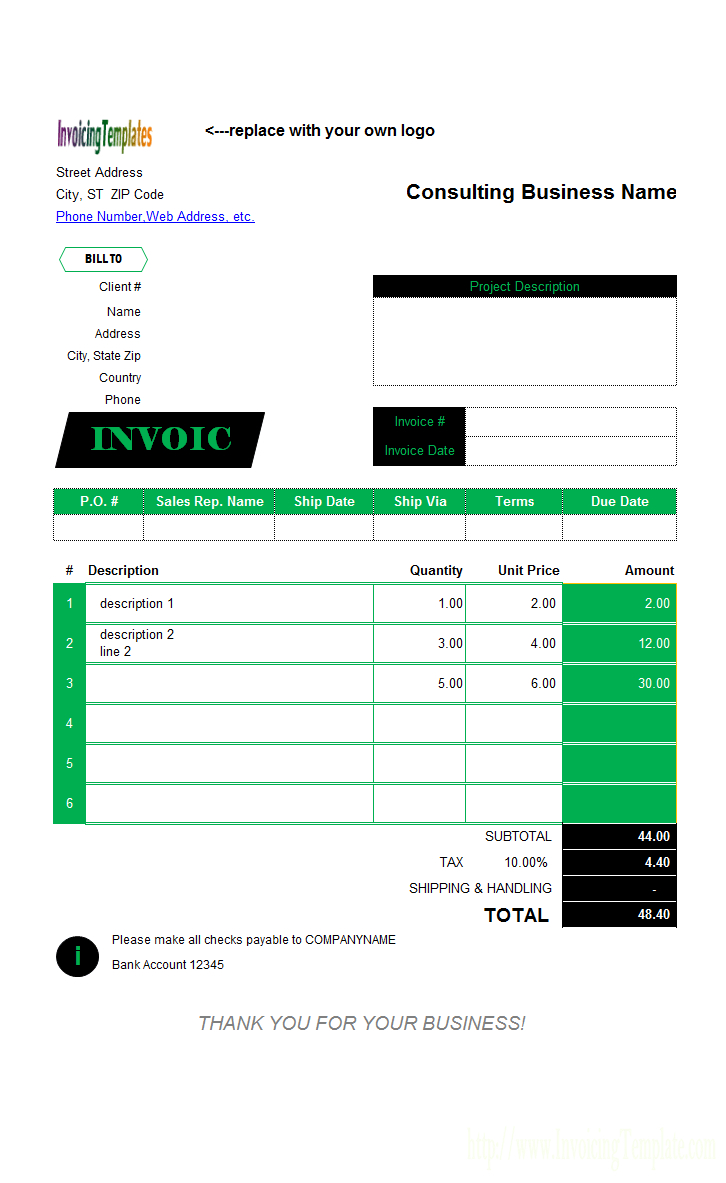 Spreadsheet Consulting For Consultant Invoice Template Free Spreadsheet Freelance Contractor
