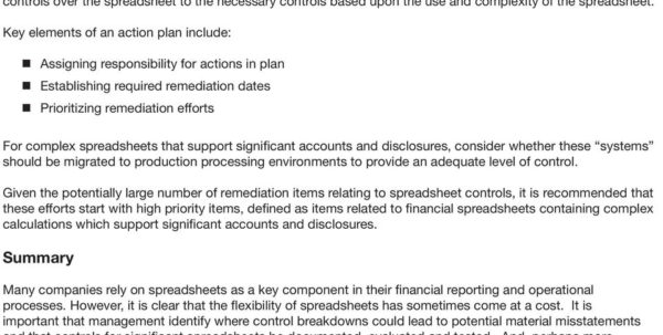 Spreadsheet Controls Best Practices Pwc Within The Use Of Spreadsheets: Considerations For Section 404 Of The
