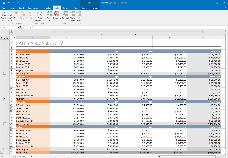 Spreadsheet Controls For Wpf Spreadsheet For Visual Studio  Excel Inspired Spreadsheet