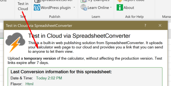 Spreadsheet Converter Review Inside Help: Publish To Cloud  Spreadsheetconverter