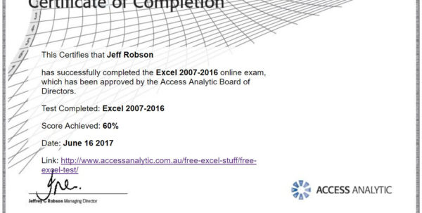 Spreadsheet Courses Online Free Throughout Free Excel Test  Access Analytic