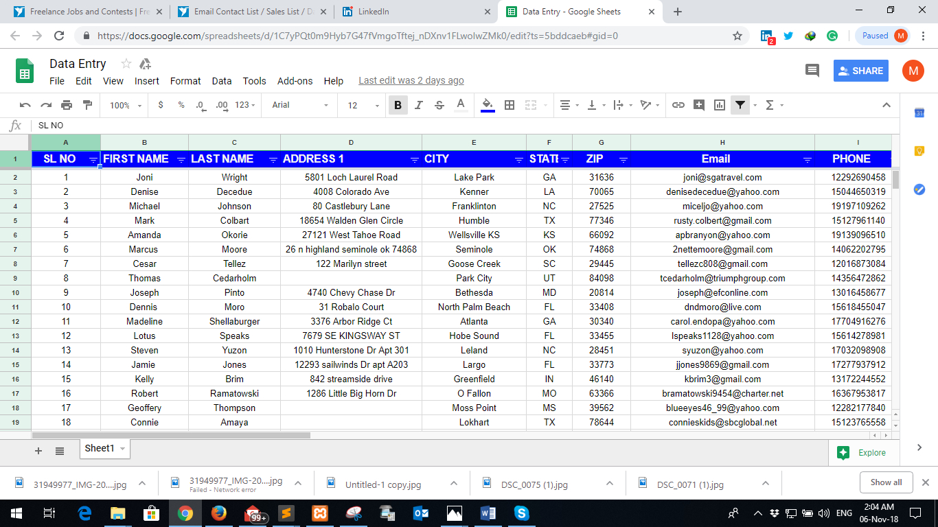 Spreadsheet Data Entry For Excel Data Entry In Spreadsheet Or Google Sheet For $2  Seoclerks