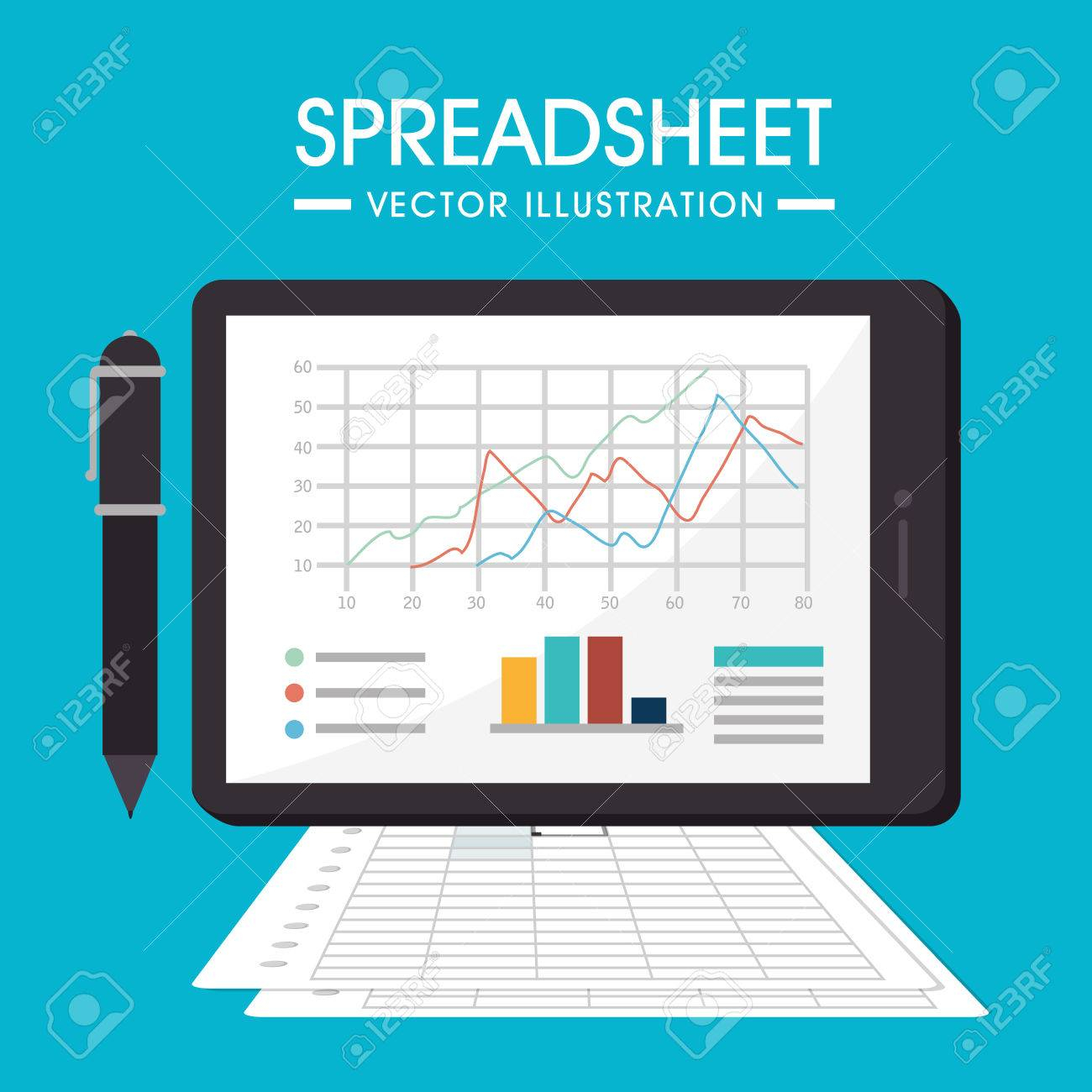Spreadsheet Design Pertaining To Spreadsheet Design Illustration. Royalty Free Cliparts, Vectors, And