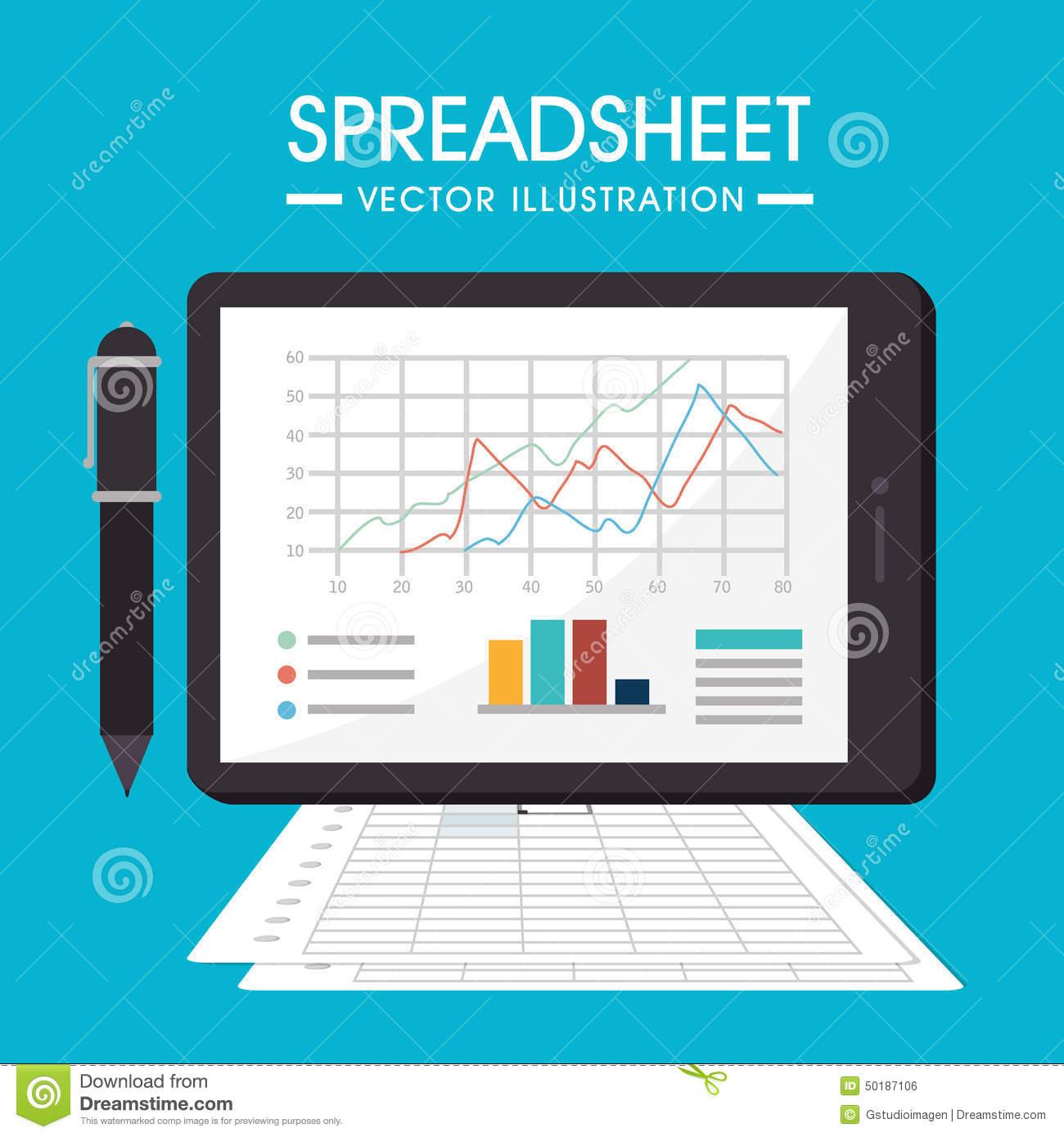 Spreadsheet Designers Throughout Spreadsheet Design, Vector Illustration. Stock Vector  Illustration