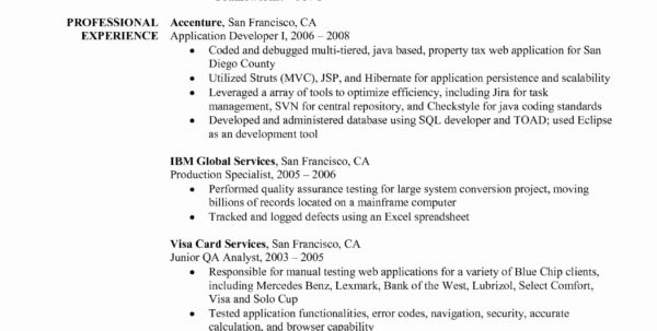 Spreadsheet Driven Web Applications Within Resume For 2 Years Experience In Java Software Testing Samples Best