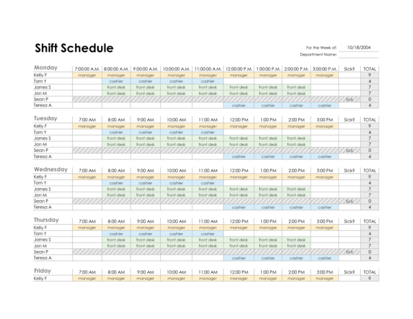 Spreadsheet Employee Schedule With Excel Spreadsheet For Scheduling Employee Shifts And Employee