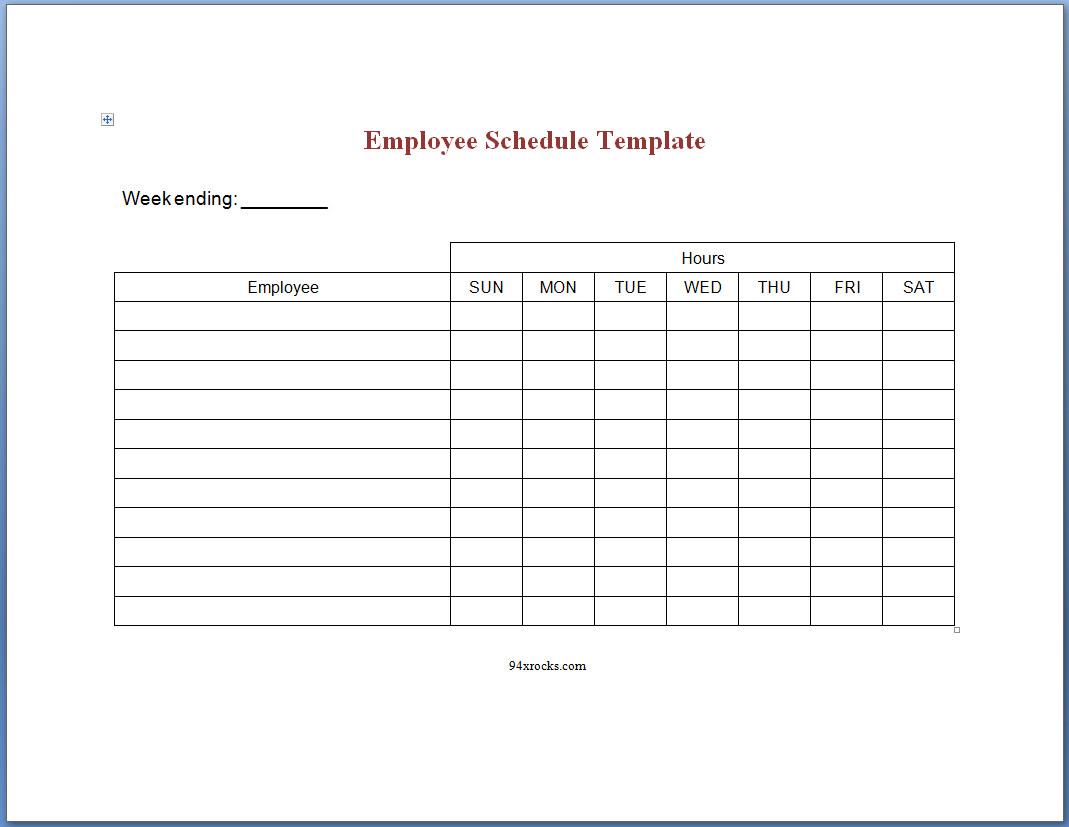 Spreadsheet Employee Schedule With Regard To Free Printable Employee Schedule Template  94Xrocks