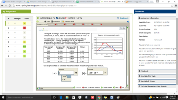 Spreadsheet Exam With Solved: Exam 4 Review Google ㄨ . Analytical Chem Google