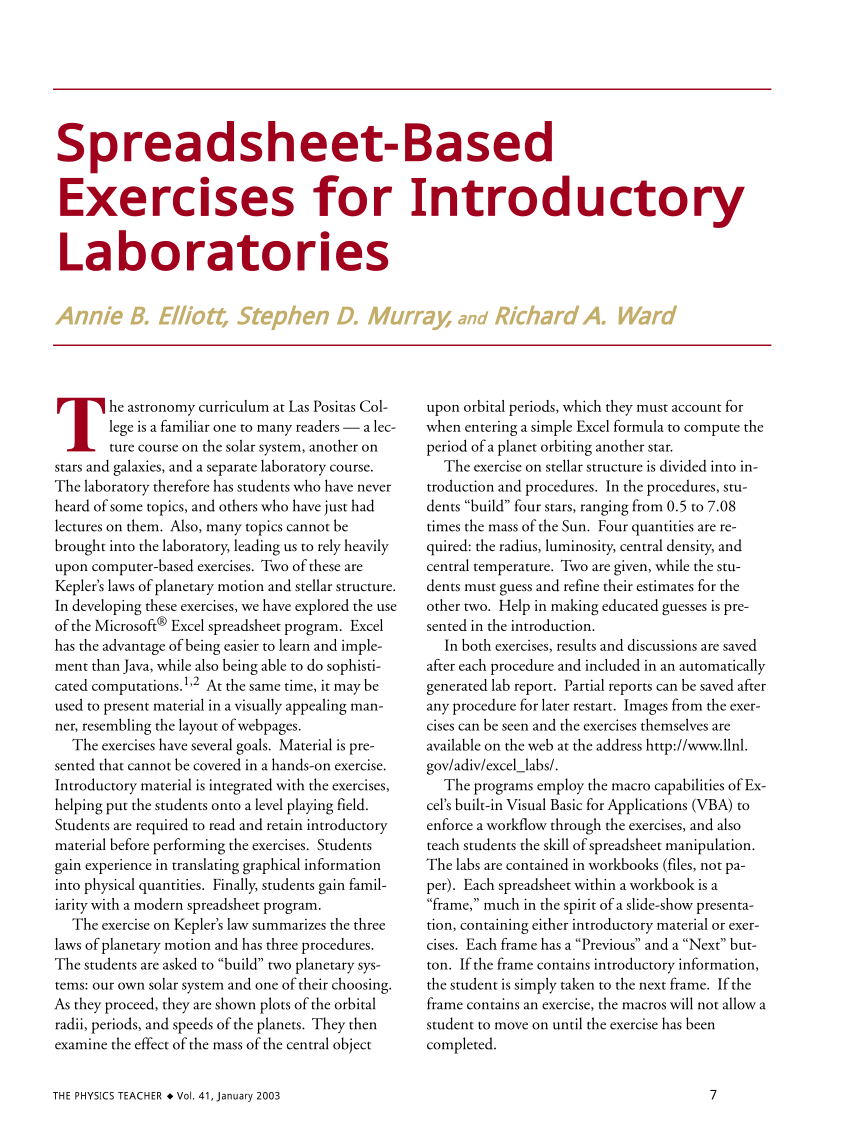 Spreadsheet Exercises For Students In Pdf Spreadsheetbased Exercises For Introductory Laboratories