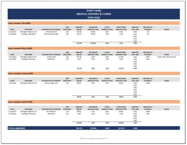 Spreadsheet For Bill Tracking Intended For Spreadsheet For Bill Tracking Medical Expenses Smith Expense
